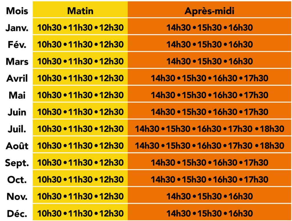 Tableau d'horaires du Petit Train de Saint-Raphaël